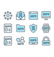 Gdpr general data protection regulation icon set