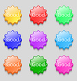 Good sign icon Symbols on nine wavy colourful vector image vector image