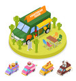 isometric street vegeterian food truck with people vector image vector image