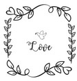 love bird flower grass square frame white backgrou vector image