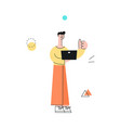 man with notebook showing thumbs up vector image vector image
