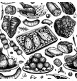 meat dishes seamless pattern hand drawn food meat vector image