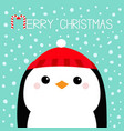 merry christmas penguin head face red hat happy vector image vector image