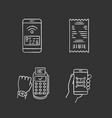 nfc payment chalk icons set vector image vector image
