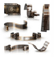 old film strip 3d icon set vector image vector image
