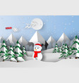paper art and craft of merry christmas with vector image vector image
