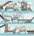 process of caramel and chocolate production set of vector image vector image