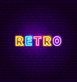 retro text neon label vector image