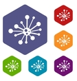 Round bacteria icons set vector image vector image