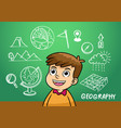 school boy write geography sign object in school vector image vector image