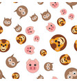 seamless pattern of owl head of lion and pig vector image vector image