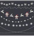 set christmas decorations garland snowflakes vector image