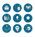 set of 9 business icons - blue flatstyle vector image vector image