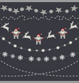 set of christmas decorations garland snowflakes vector image
