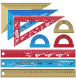 set of school rulers and protractors in vector image