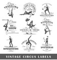 set of vintage circus labels vector image