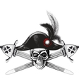 skull in captain hat and two crossed swords vector image vector image