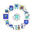 stomatology round concept banner in colored line vector image vector image
