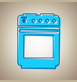 stove sign sky blue icon with defected vector image vector image