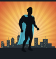 superhero action justice posing front cityscape vector image