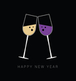 two glass with white and red wine for new year vector image vector image
