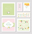 wedding or birthday card templates set decorated vector image vector image
