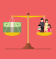 Work and Family balance on the scale vector image vector image