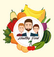 young people with fruits and vegetables vector image vector image