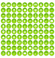 100 street festival icons set green circle vector image vector image