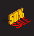 50 percent off sale golden-yellow object 3d vector image