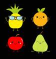apple pear pineapple orange fruit icon set cute vector image