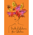Autumn background with outline portrait of girl vector image vector image