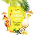 Beach tropical cocktails bahama mama and pina vector image vector image