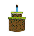 cartoon cake candle sweet food party icon vector image