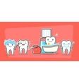 Cartoon teeth care and hygiene concept vector image vector image