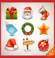 Christmas icon set-1 vector image