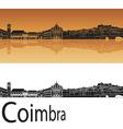 Coimbra skyline in orange background vector image vector image