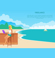 colorful freelance poster with cheerful blonde vector image vector image