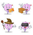 cotton candy character set with envelope box witch vector image vector image