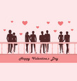 couples in love walk on the bridge - red hearts vector image