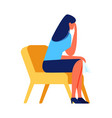 crying woman sitting on chair on white background vector image vector image