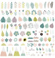 cute flowers and plants big collection vector image