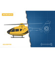 engineering blueprint of helicopter vector image vector image
