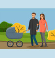 family walking in autumn park parents are vector image vector image