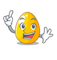 finger golden egg with cartoon shape reflection vector image
