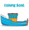 Fishing boat cartoon art vector image vector image