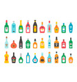 flat design alcohol bottles set vector image