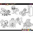 flies set cartoon coloring page vector image vector image