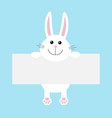 funny white rabbit hare hanging on paper board vector image vector image