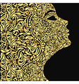 girls face from the golden floral vector image vector image